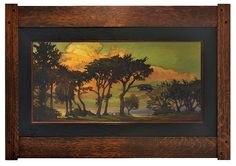 Jan Schmuckal - Oil on Canvas -Cambrian Sunset - Frame by Dard Hunter - Courtesy of the Michele C. Clark Collection