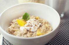 Peach PieOatmeal - eating it now, it's delicious!