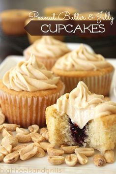 Peanut Butter and Jelly yumminess in cupcake form! http://www.highheelsandgrills.com/2013/04/peanut-butter-and-jelly-cupcakes.html