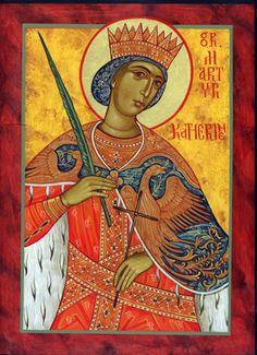St. Katherine the Great of Alexandria.  Icon, Michael Kapeluck