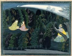 """Indian. <em>Krishna Gazes Longingly at Radha, Page from the """"Lumbagraon Gita Govinda"""" Series</em>, ca. 1820-1825. Opaque watercolor and gold on paper, sheet: 11 1/8 x 14 3/8 in.  (28.3 x 36.5 cm). Brooklyn Museum, Designated Purchase Fund, 72.43 (Photo: Brooklyn Museum, 72.43_IMLS_SL2.jpg)"""