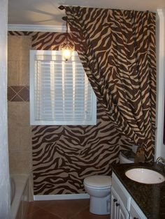 Bathroom Designs Dashing Brown Zebra Print Ideas Curtain Shower Room Adorable Presentation