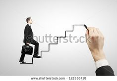 businessman walking on drawing stairs - stock photo