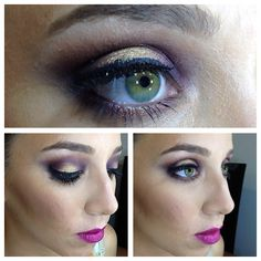 Beautiful green Eyes! Purple and gold Makeup!