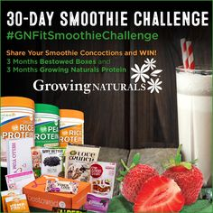 Counting down the days until the Winter GN Fit Challenge with a 30-day Smoothie Challenge. Post your favorite smoothie recipe using Growing Naturals protein and be entered to win. Use #GNFitSmoothieChallenge http://growingnaturals.com/gnfit30daysmoothiechallenge/