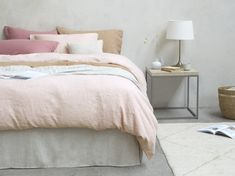 Our Lazy Linen does exactly what it says on the tin. Its stylishly crushed good looks give your bedroom a laid-back feel without any ironing. Cottage Interiors, Dusty Pink, Linen Bedding, Lazy, Tin, Bedroom, Free, Furniture, Home Decor