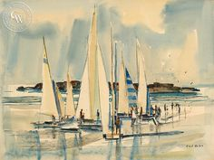 Boats at Aliso, California art by Phil Dike. HD giclee art prints for sale at CaliforniaWatercolor.com - original California paintings, & premium giclee prints for sale