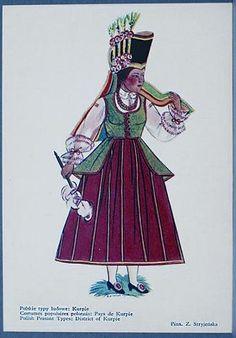 15 Kalinowska Ilustracja 1. Z. Stryjeńska, Polskie typy ludowe. Kurpie Poland, Samurai, Stamp Book, Dishes, Samurai Warrior