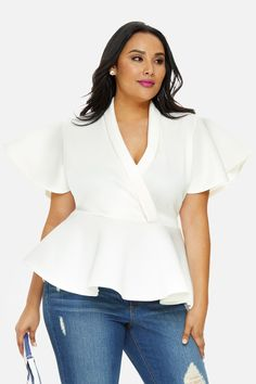 123d29fd3e2 Plus Size Flutter Sleeve Peplum Top Jeans Outfit For Work