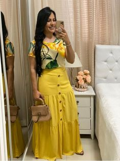 Modest Casual Outfits, Classy Outfits, Modest Fashion, Fashion Dresses, Stylish Dress Designs, Stylish Dresses, Short African Dresses, Yellow Clothes, Long Skirts For Women