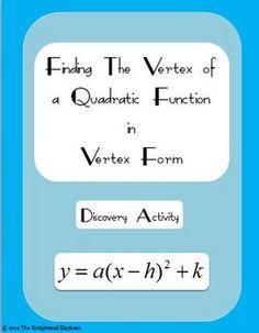 FREE Vertex Form of a Quadratic Discovery Activity Sheet Math 2, Math Teacher, Math Classroom, Teaching Math, Math Help, Free Math, Teaching Ideas, Algebra Activities, Maths Algebra
