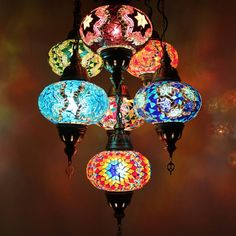 Handmade Turkish Moroccan Style Mosaic Hanging Lamp Ceiling Light 7 Large Globe