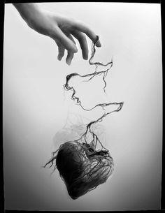 Dark Art heart on a string Arte Black, Gothic Art, Heart Art, Hand Heart, White Photography, Monochrome Photography, Oeuvre D'art, Fantasy Art, Art Drawings