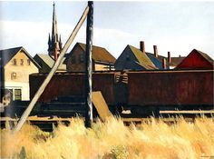 Edward Hopper (1882 - 1967) Freight Cars, Gloucester, 1928 oil on canvas, 73.7 x 101.9 cm (29 x 40 1/8); framed: 87.6 x 115.6 x 8.3 cm (34 1/2 x 45 1/2 x 3 1/4) Addison Gallery of American Art, Phillips Academy, Andover, Massachusetts; Gift of Edward Wales Root in recognition of the 25th Anniversary of the Addison Gallery