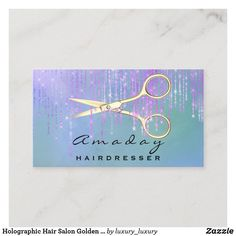 Holographic Hair Salon Golden Scissors Pink Drips Business Card