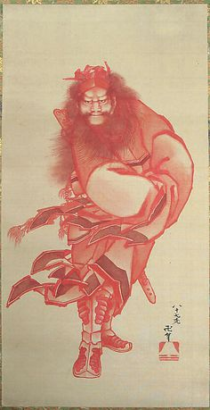 Akai Shôki, the Demon Queller in Red  Katsushika Hokusai  (Japanese, 1760–1849)  Period: Edo period (1615–1868) Date: dated 1847 Culture: Japan Medium: Hanging scroll; ink and color on silk