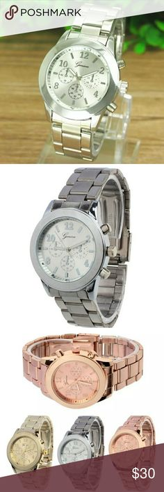 STUNNING LADIES SILVER QUARTZ WATCH Geneva Ladies Stainless Steel Quartz Wrist Watch  Feature:  100% brand new and high quality.  Quantity: 1  Style: Fashion & Casual  Dial Material:Alloy  Strap Material:Stainless Steel  Case material:Alloy  Display: Analog  Movement: Quartz  Case Diameter: 3.6cm  Case Thinkness:0.7cm  Band Width: 1.8cm  Daily water resistance (not for showering and swimming)  Surface Material: Glass  Color:Gold,Rose Gold,Silver GENEVA Accessories Watches