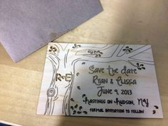 Surface Grooves Laser Cut Wood Save the Date
