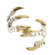 Pigeon Grasp Claw Ring with Gold Nails   Tessa Metcalfe Jewellery