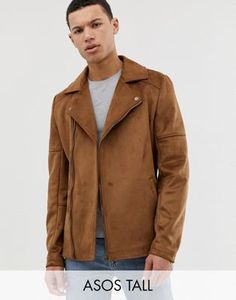 Find the best selection of ASOS DESIGN Tall faux suede biker jacket in tan. Shop today with free delivery and returns (Ts&Cs apply) with ASOS! Faux Suede Biker Jacket, Leather Jacket, Work Casual, Men Casual, Asos, Raincoat, Jackets, Shopping, Lisa