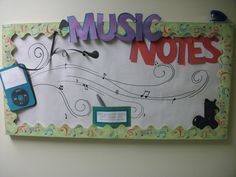 residents can write their favorite songs or artists on the music notes and post them to the board