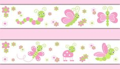 BUTTERFLY LADYBUG BORDER Decal Wall Art Girl Pink Floral Nursery Baby Stickers Room Decor Childrens Dragonfly Bedroom Shower Gift Decoration #decampstudios