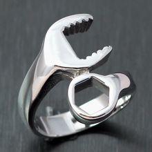Para hombre del motorista del Punk Mechanic Wrench anillo de plata del acero inoxidable 316L pulido venta al por mayor(China (Mainland))