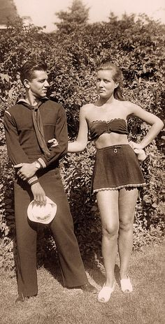 A handsome sailor suitor comes to visit a young EDIE BEALE at GREY GARDENS after being away at sea. East Hamptons N.Y. 1942. From Edith Bouvier Beale of Grey Gardens : A Life In Pictures. (minkshmink)