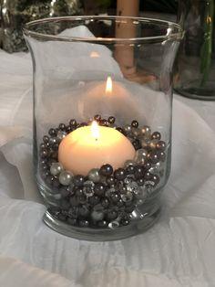 Gray And Silver Pearls, Diamond Confetti Vase Fillers 500pc Small Pearls No Holes