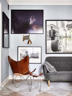 Andrea Papini // Elle Decoration Sweden - Peter Neumeister in Stockholm Masculine Interior, Scandinavian Interior Design, Modern Wall Decor, Eclectic Decor, Home Design, Design Ideas, Exterior Paint Colors For House, Butterfly Chair, Malm