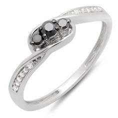 Promise Rings Simple   025 Carat ctw 10k White Gold Round Black  White Diamond Ladies 3 Stone Engagement Promise Ring 14 CT Size 8 -- You can get more details by clicking on the image. Note:It is Affiliate Link to Amazon. #PromiseRingsForHer