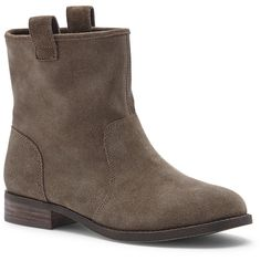 Sole Society Natasha Slip-On Bootie ($90) ❤ liked on Polyvore featuring shoes, boots, ankle booties, dark taupe, pull on leather boots, stacked heel booties, flat booties, taupe booties and taupe boots