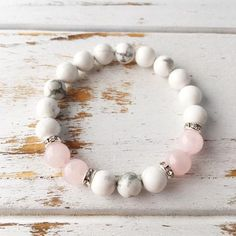 Help to Release Anger ~ Genuine White Howlite & Rose Quartz Bracelet w/ Swarovski Crystal Spacers - A Peace of Mind Jewelry & Boutique Healing Bracelets, Gemstone Bracelets, Gemstone Jewelry, Diy Jewelry, Beaded Jewelry, Jewelery, Jewelry Bracelets, Handmade Jewelry, Jewelry Making
