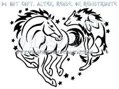 Horse And Wolf Starry Heart Design by WildSpiritWolf.deviantart.com on @deviantART