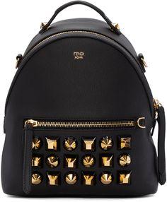 e42008004b20 FENDI Black Studded Messenger Backpack.  fendi  bags  leather  lining   backpacks