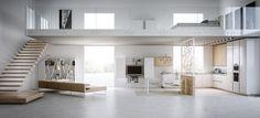 Apartment, Contemporary White Studio Apartment Design: Spacey White Studio Apartments with Style