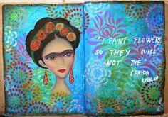 My whimsical Frida Kahlo... #artjournal #art using my own stencil & some TCW stencils... all in oil pastels!  More info on the blog...  #ingridscraftscorner #ingridkristinav