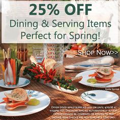 25% off on selected springy patterns! Details in the image. Have a great weekend! http://noritakechina.com/25-off-spring-items.html #noritake #sale #tablescapes