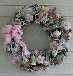 A pink tea pot wreath...
