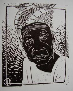 Linogravure - Les pinceaux de malela
