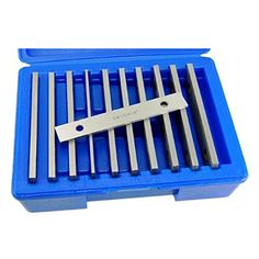 Machinist's Thin Parallel Bar Set - 10 Pair X Precision machinist's steel parallel bar set in x pair of bars in heights: ABS storage case keeps set clean and protected. Best Portable Air Compressor, Home Bar Accessories, Belt Grinder, Home Bar Designs, Power Hand Tools, Tool Steel, Bar Set, Bar Tools, Knife Making