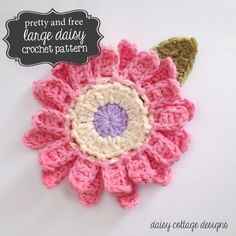 Free Large Flower Crochet Pattern by Daisy Cottage Designs . Crochet Puff Flower, Crochet Flower Patterns, Flower Applique, Crochet Motif, Crochet Designs, Crochet Flowers, Knit Crochet, Crochet Daisy, Crochet Hearts