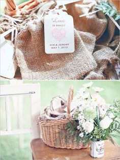 burlap gift bags - we recommend letterpressed gift tags!