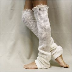 Leg warmer for fall, legwarmer, barre-pilates-yoga, exercise, ballet, DANCE LOVE cream lace ballet leg warmers | LW23