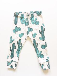Organic baby leggings in cactus print, baby leggings,  baby pants, toddler leggings, toddler pants by LolaandStella on Etsy https://www.etsy.com/au/listing/221908824/organic-baby-leggings-in-cactus-print
