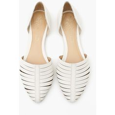 Report Silverton Flat - White (3,995 INR) ❤ liked on Polyvore featuring shoes, flats, sandals, white, flat footwear, leather flats, flat pumps, white colour shoes and real leather shoes