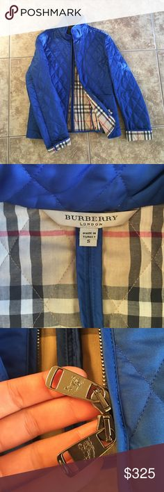 Burberry Jacket Lightweight NWOT Beautiful Burberry jacket, inside plaid with an electric blue color on outside! In excellent condition only worn once! Front side pockets! Burberry Jackets & Coats Puffers