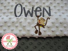 Custom designed personalized Minkee baby blankets at www.sun7designs.com