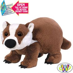 "PLUSH WEBKINZ BADGER BY GANZ. With button eyes, super-soft fur, beanie feet and official Webkinz embroidered logo. These little cuties will delight any stuffed animal collector. Each Webkinz animal comes with a code that can be registered on the Webkinz website, and allows you to ""adopt"" the pet in the virtual Webkinz World online play area. Perfect for Christmas stocking stuffers and party favors.  Size 8.5 Inches"