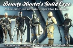 Bounty Hunter Expo Postcard   A great postcard to send your friends and family who are unable to attend the annual Bounty Hunter Expo aboard the luxuorious Executor. The postcard features great bounty hunters from across the galaxy.Featured (right to left) Dengar, IG-88, Boba Fett, Bossk, and 4-LOM. #starwars